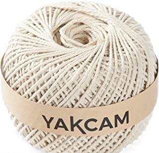 YAKCAM Macrame Rope, Large Ball 3mm x 300M (328yd) , 3 Strand Twisted 100% Natural Cotton Cord, Beige Cream Colour Complet...
