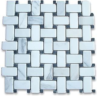 Calacatta Gold Italian Calcutta Marble Basketweave Mosaic Tile Black Dots 1 x 2 Tumbled