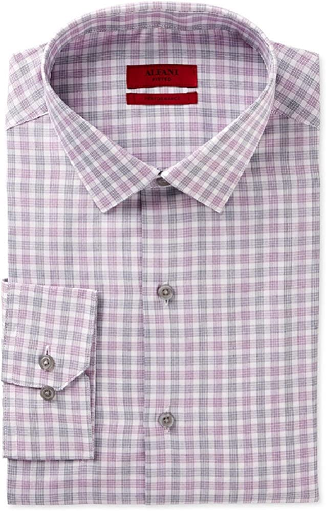 Alfani Red Fitted Performance Plum Black Check Dress Shirt Size S