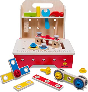 USA Toyz Wooden Workbench and Tools for Kids - 36Pc Wooden Toys w/ Folding Kids Work Bench Table
