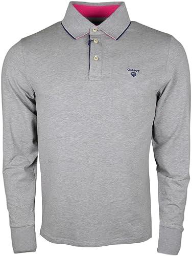 Gant Polo Manches Longues en Jersey gris pour Homme