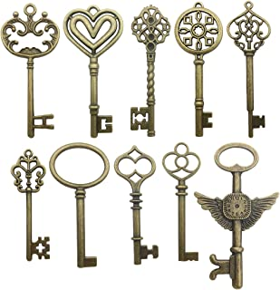 20 PCS Big Skeleton Key Charms Collection - Mixed Antique Bronze Steampunk Angel Wedding Heart Key Metal Pendants for Jewelry Making DIY Findings (20 Bronze Key HM106)