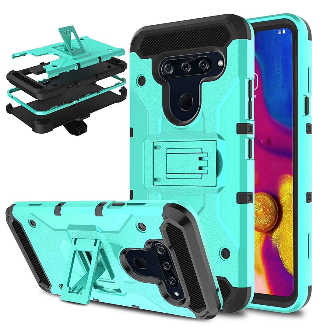 DONWELL Compatible LG V40 ThinQ Case, Shockproof Armor Cell Phone Case Cover with Kickstand Belt Clip Holster Compatible with LG V40 (2018) (Green)