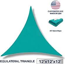 Windscreen4less 12' x 12' x 12' Sun Shade Sail UV Block Fabric Canopy in Turquoise Triangle for Patio Garden Patio Customized (3 Year Warranty)