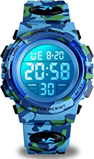 Kids Digital Sports Watch for Boys Girls, Boy Waterproof Casual Electronic Analog Quartz 7 Colorful Led Watches with Alarm...