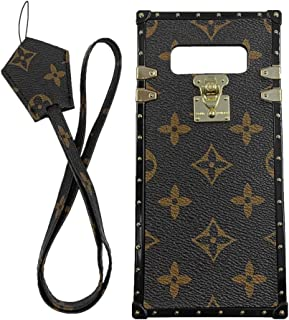 jiehao Compatible with Samsung Galaxy Note 8 Case,Vintage Elegant Luxury Designer Monogram PU Leather Back with Lanyard Soft Bumper Shock Trunk Protective Phone Case Cover for Note 8 6.3