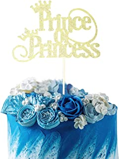 Starsgarden Gold Glitter Prince or Princess Cake Topper - Gender Reveal -Boy or Girl - He or She - Baby Shower Party Decorations(Gold)