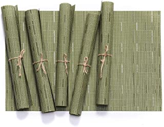 TD HOME Dinner Table Mats 6 pieces Washable Placemats Set Green