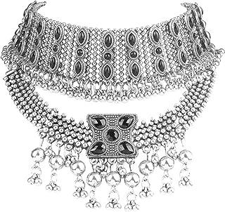 Retro Boho Tribal Tassel Collar Bib Chain Chunky Pendant Statement Necklace Choker for Women