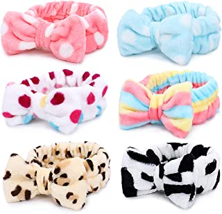 Spa Headband – 6 Pack Bow Hair Band Women Facial Makeup Head Band Soft Coral Fleece Head Wraps For Shower Washing Face
