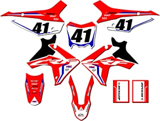 CUSTOMIZABLE Senge Graphics Kit with RIDER I.D. compatible with Honda 2013-2018 CRF 110, Works Red Complete Graphics Kit with RIDER I.D.