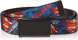 """Buckle-Down Web Belt, SUPERMAN MAN OF STEEL Shield Collage/Rays Black/Blues/Reds/Yellows, 1.0"""" Wide - Fits up to Kids Size 20"""