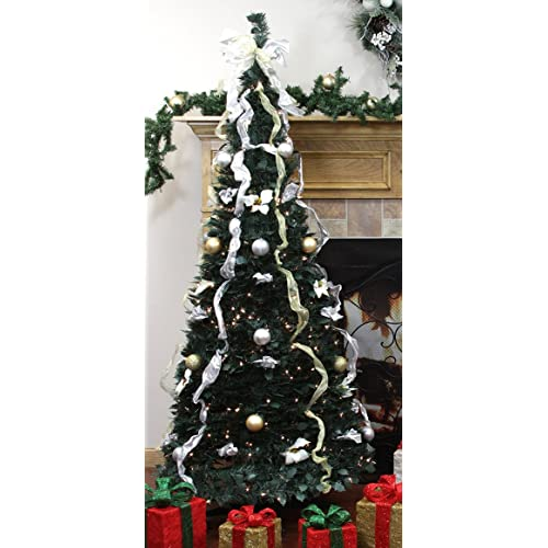 Silver Pre Lit Christmas Trees Amazon Com