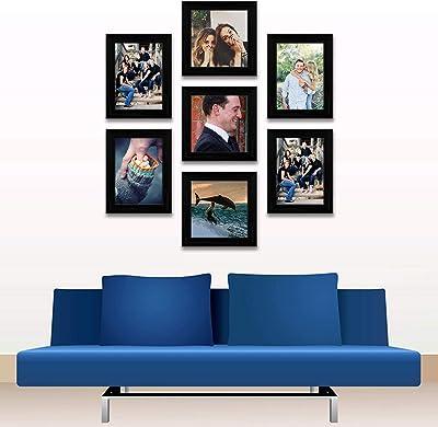 ArtzFolio Wall Photo Frame D401 Black 5x7-4pc;6x6-3pc;Set of 7 PCS