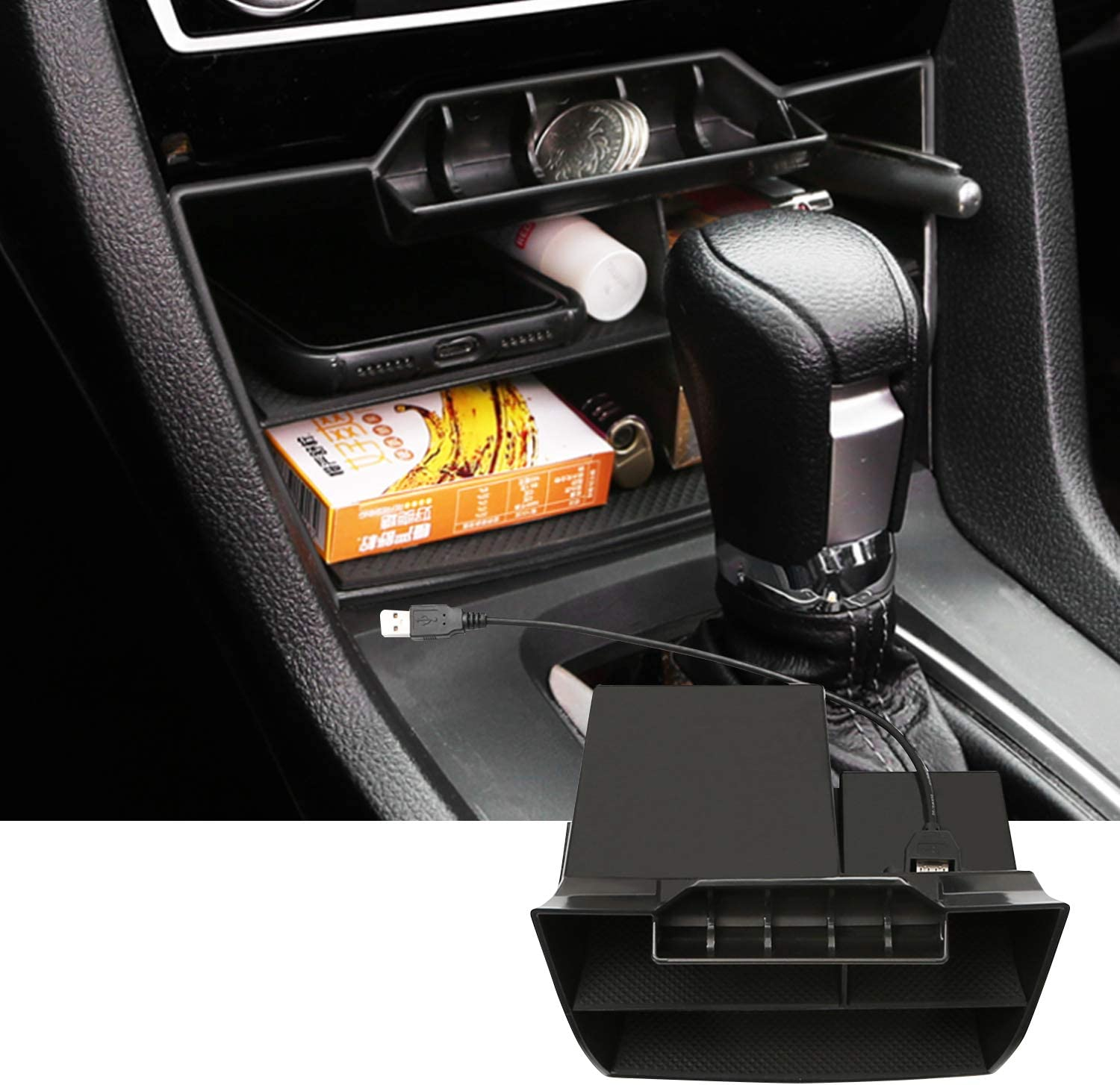 SKTU Center Console Organizer Compatible with 2016-2020 Civic Accessories Insert Honda ABS Black Materials Tray Armrest Secondary Storage Box with USB Hole