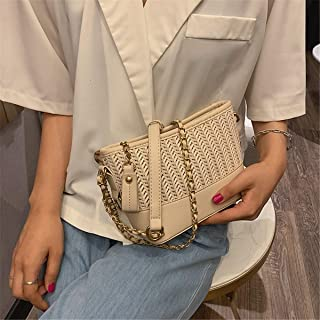 ZZZ Woven Street Bag Fashion Trend Chic Wholesale Messenger Bag Chain Shoulder Texture Wild Handbag fashion (Color : Beige)