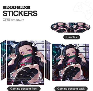 Demon Slayer Novelty Cartoon PS4 Pro Whole Body Vinyl Decal Lovely Anime Gaming Skin for Playstation 4 System Console and Con