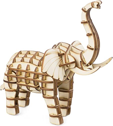 2021 Rolife lowest Build Your Own 3D Wooden Assembly Puzzle Wood Craft Kit Model Gifts for Kids and Adults outlet online sale (Elephant) online