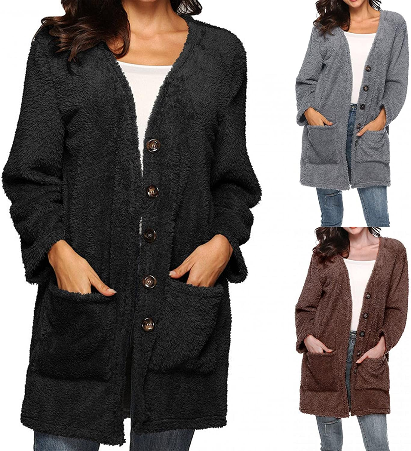 INESVER Womens Button Down Long Sleeve Cardigan Fleece Fuzzy Warm Jacket Tops Solid Color Open Front Cardigan