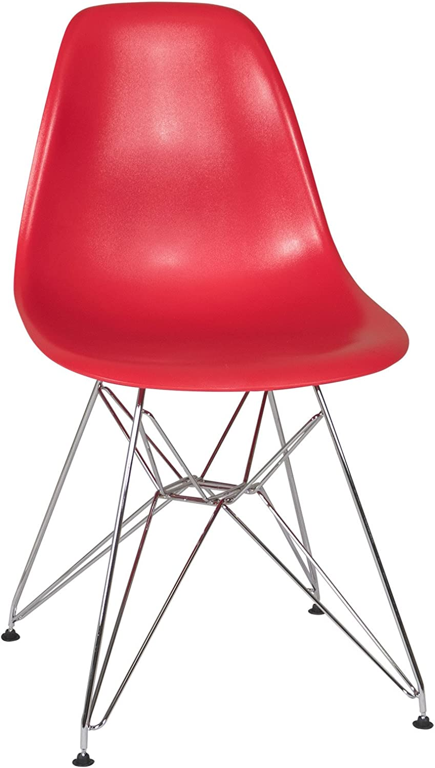 Ethan MidMod Side Chair with Metal Eiffel Base, Red