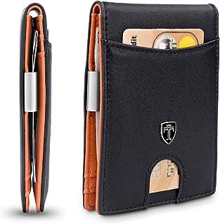 TRAVANDO Slim Wallet with Money Clip SEATTLE RFID Blocking Card Mini Bifold Men (Orange)