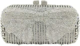 MDSQ Bow Diamond Evening Bag Clutch 18 * 10 * 7cm Women Girls Chain Shoulder Bag Fashion Wedding Party Gifts Fashion personality (Color : Silver)