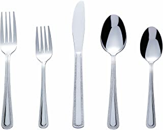 Bon Pearl 20-Piece Stainless Steel Flatware Silverware Cutlery Set, Include Knife/Fork/Spoon, Dishwasher Safe, Service for 4