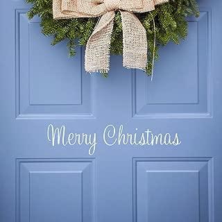 Christmas Wall Decal Vinyl Merry Christmas Front Door Decal Christmas Decorations, Matt White (Merry Christmas)