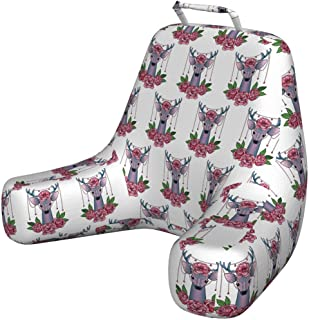 Ambesonne Tattoo Bedrest with Back Pocket, Deer Heads with Accessories Hanging from Its Antlers and Pink Peony Flowers, Decorative Pillow with Shredded Foam for Reading, X-Large, Coral Mauve