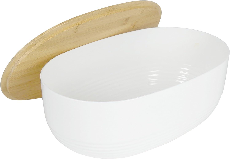 37.5 x 23 x 14 cm KECKU Portapane Namur PS di plastica Plastica Bianco