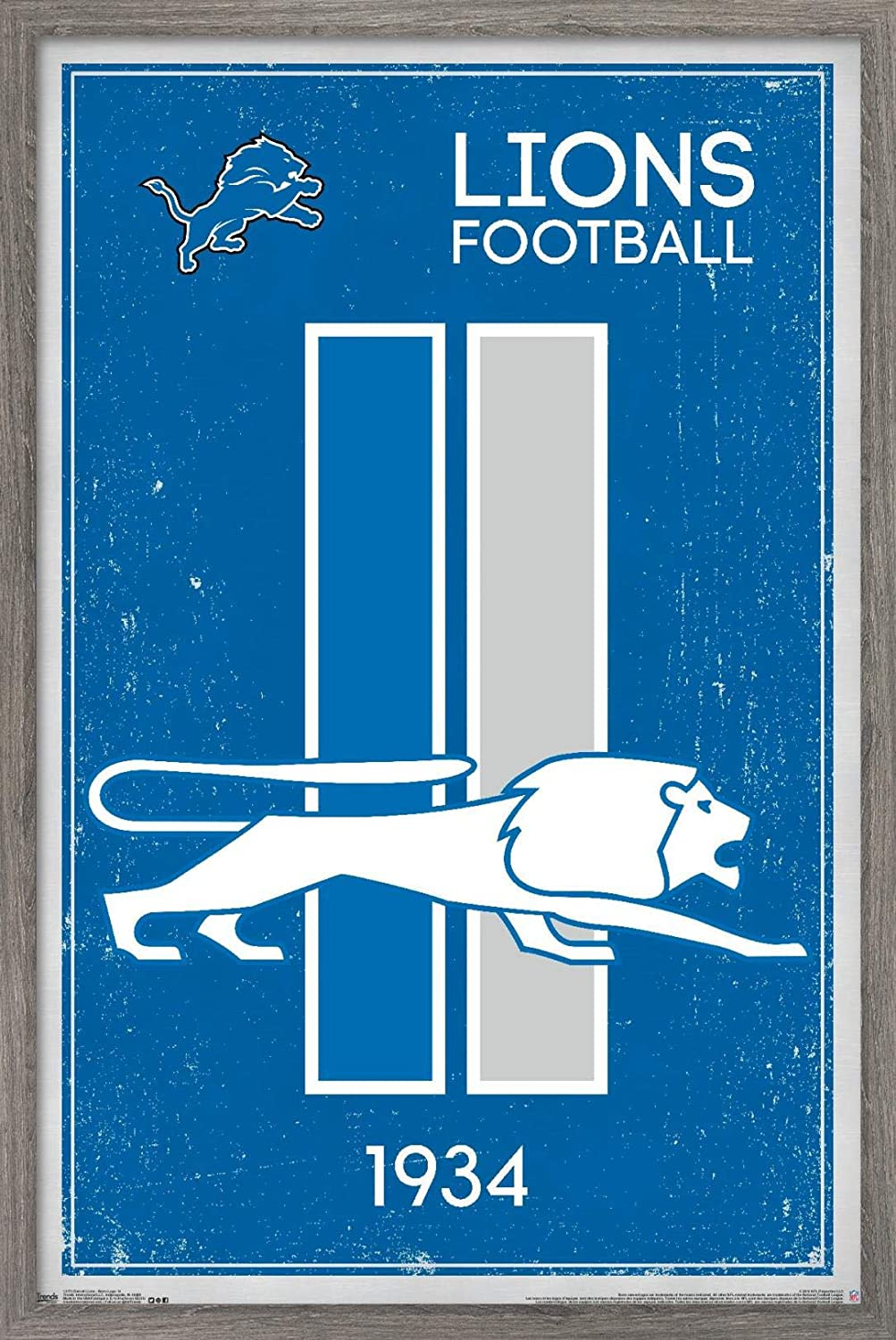 Trends Complete Free Shipping International NFL Detroit Lions - Logo Post New arrival 14 Wall Retro