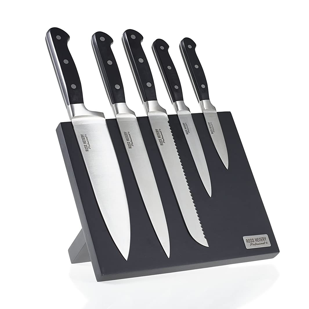 Ross Henery Professional Premium 5 Piece Stainless Steel Kitchen Knife Set on Stylish Black Magnetic Block