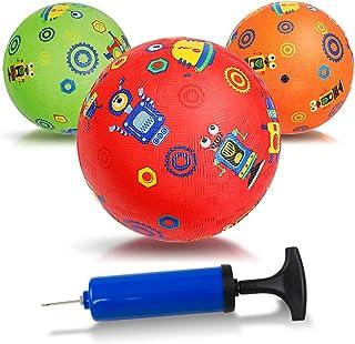 INPODAK 5 Inches Kickball for Toddler, Mini Dodgeball Set, 3pcs Inflatable Playground Balls for Kids, Rubber Four Square B...