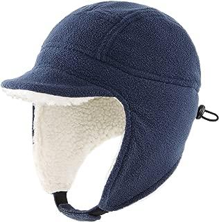 Toddler Boys Winter Hats Kids Fleece Hat Warm Earflap Cap with Visor