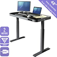 Seville Classics OFF65872 AIRLIFT Tempered Glass Electric Standing Desk with Drawer, 2.4A USB Ports, 3 Memory Buttons (Max. Height 47