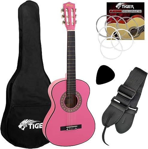 Tiger CLG6-PK Guitare classique avec accessoires Taille 1/2 Rose jasmin