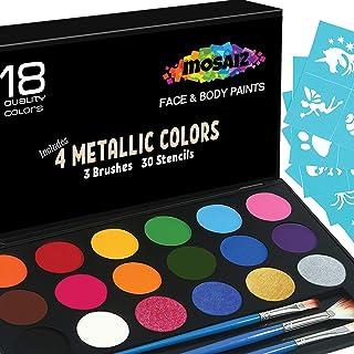 Face Paint Kit Non-Grease 18 Colors Including 4 Metallic 3 Brushes 30 Stencils Face Paints Body Paint Palette Kids Safe Fa...