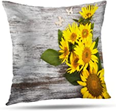 Darkchocl Throw Pillow Covers Bouquet Sunflowers Wooden Beautiful Color Flower Holiday Industry Life Square Pillowcase Cushion for Couch Sofa Bed Polyester 20 x 20 inch