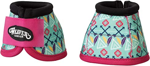 Weaver Leather Ballistic No-Turn Bell Boots, Small, Tribal with Pink Strap