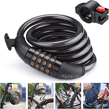 tao pipe 2pcs Combination Bike Lock Bicycle Wheel Lock 4-Digit Number Resettable Cycle Cable Lock,15.7in//40cm Long
