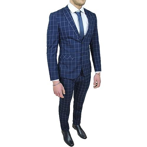 Abito completo uomo sartoriale blu quadri vestito elegante cerimonia