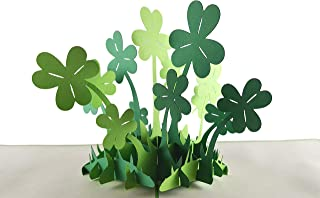 iGifts And Cards Happy St. Patrick's Day Clover 3D pop up card - Awesome, Cute, Fun, Cool, Luck, Unique, Irish, Green, Four-Leaf, Half-Fold, Special Occasion, St. Paddy's, Celebration, Shamrock, Best