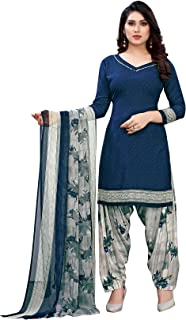 TreegoArt Fashion Women's Crepe Churidaar Indian Printed Unstitched Dress Material -(Free Size) Blue