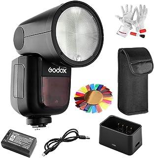 Godox V1-S Speedlite voor Sony, Ronde flitskop TTL reportageflitser, 76W flitsvermogen, HSS 1/8000s met accessoireset