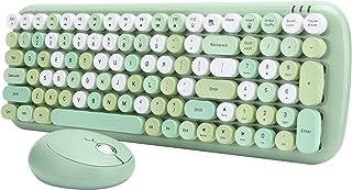 Draadloze toetsenbordmuisset, 2.4G vintage retro toetsenbord- en muiscombinaties met ronde keycap, 10m transmissieafstand,...