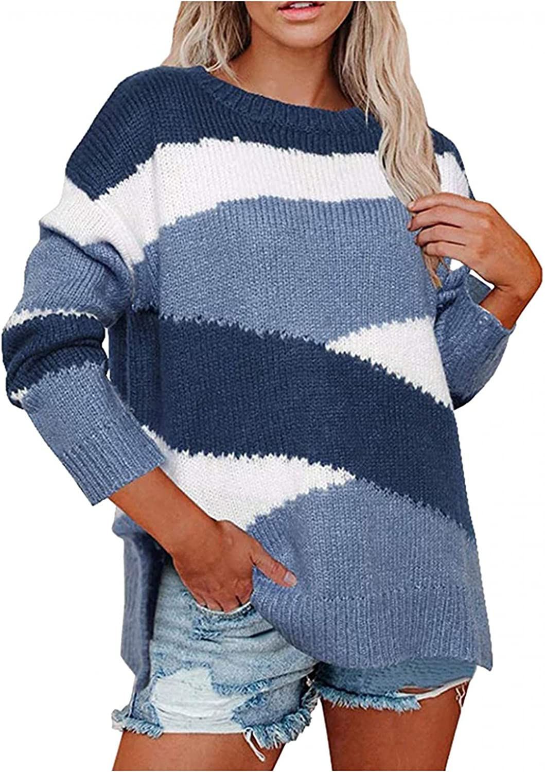 Sweaters for Women Crew Neck Loose Drop Shoulder Long Sleeve Casual Soft Lightweight Plus Size Pullover Sweaters