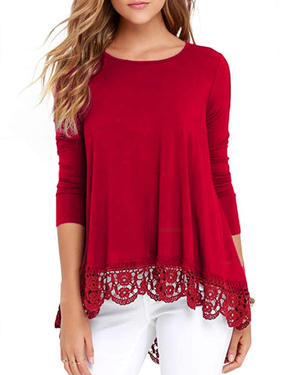 RAGEMALL Women's Tops Long Sleeve Lace Trim O-Neck A-Line Tunic Blouse Tops for Women