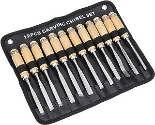 Coolty 12pcs Menuiserie Couteau à Découper Kit, Ciseaux à Bois, Idéal pour DIY Art Craft Argile Les Débutants de Menuisie