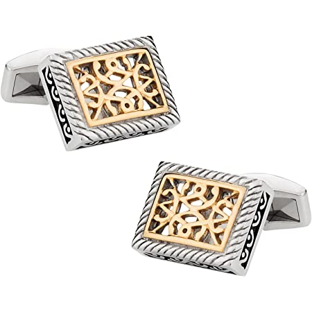 Stainless Steel Cufflinks with Gold-Tone Accents with Presentation Box