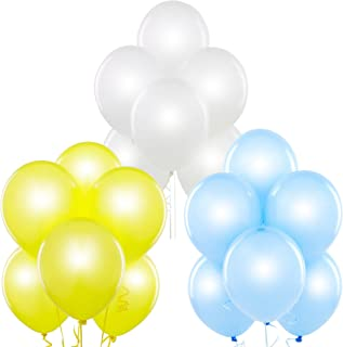 Pearl White, Pearl Baby Blue, Pearl Yellow 12 Inch Pearlescent Thickened Latex Balloons, Pack of 72, Pearlized Premium Helium Quality for Wedding Bridal Baby Shower Birthday Party Decorations Supplies